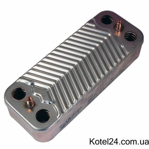 Теплообменник ГВС 14 пластин котла Unical 95000683